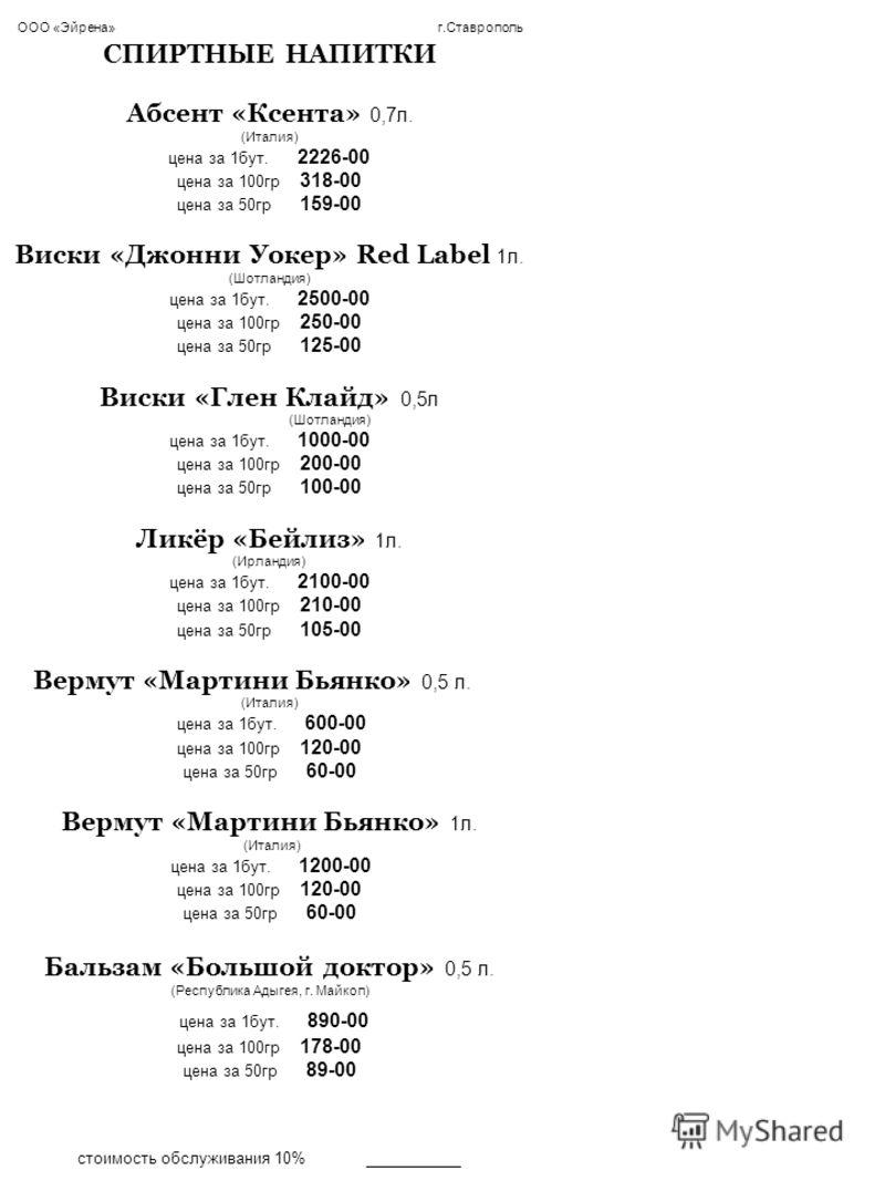 ООО «Эйрена» г.Ставрополь СПИРТНЫЕ НАПИТКИ Абсент «Ксента» 0,7л. (Италия) цена за 1бут. 2226-00 цена за 100гр 318-00 цена за 50гр 159-00 Виски «Джонни Уокер» Red Label 1л. (Шотландия) цена за 1бут. 2500-00 цена за 100гр 250-00 цена за 50гр 125-00 Вис