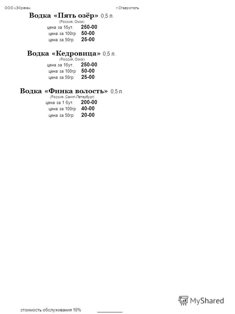 ООО «Эйрена» г.Ставрополь Водка «Пять озёр» 0,5 л. (Россия, Омск) цена за 1бут. 250-00 цена за 100гр 50-00 цена за 50гр 25-00 Водка «Кедровица» 0,5 л. (Россия, Омск) цена за 1бут. 250-00 цена за 100гр 50-00 цена за 50гр 25-00 Водка «Финка волость» 0,