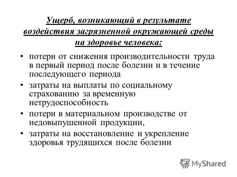 Ущерб, возникающий в результате воздействия <a href='http://www.myshared.ru/theme/prezentatsiya-zagryaznenie-okrujayuschey-sredyi' title='загрязнение