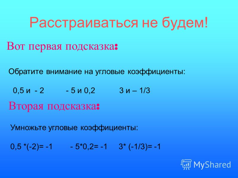 Расстраиваться не будем! Вот первая подсказка : Обратите внимание на угловые коэффициенты: 0,5 и - 2 - 5 и 0,2 3 и – 1/3 Вторая подсказка : Умножьте угловые коэффициенты: 0,5 *(-2)= -1 - 5*0,2= -1 3* (-1/3)= -1