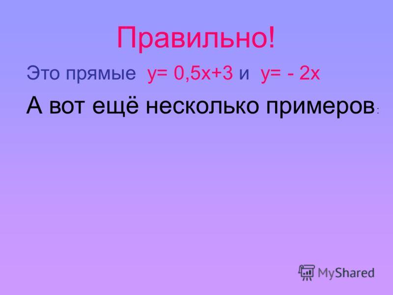 Правильно! Это прямые у= 0,5х+3 и у= - 2х А вот ещё несколько примеров :
