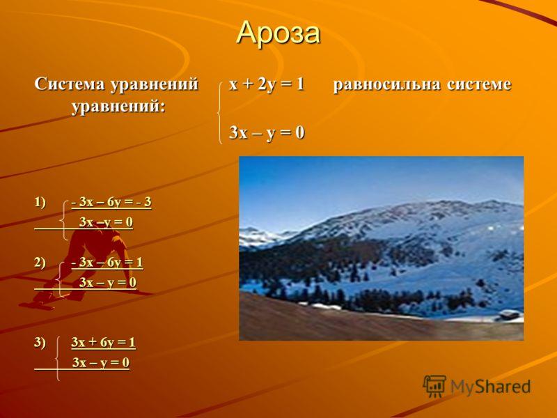 Ароза Система уравнений х + 2у = 1 равносильна системе уравнений: 3х – у = 0 3х – у = 0 1)- 3х – 6у = - 3 - 3х – 6у = - 3- 3х – 6у = - 3 3х –у = 0 3х –у = 0 2)- 3х – 6у = 1 - 3х – 6у = 1- 3х – 6у = 1 3х – у = 0 3х – у = 0 3)3х + 6у = 1 3х + 6у = 13х