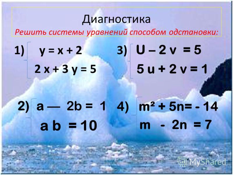 Диагностика Решить системы уравнений способом одстановки: 1) у = х + 2 2 х + 3 у = 5 2)a 2b = 1 a b = 10 3) U – 2 v = 5 5 u + 2 v = 1 4) m² + 5n= - 14 m - 2n = 7