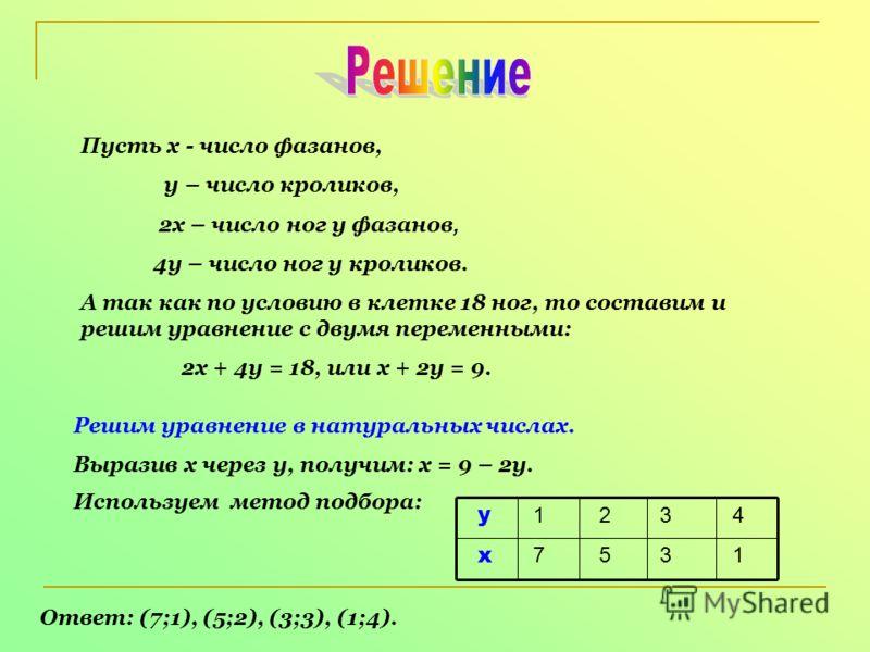 Пусть х - число фазанов, у – число кроликов, 2х – число ног у фазанов, 4у – число ног у кроликов. А так как по условию в клетке 18 ног, то составим и решим уравнение с двумя переменными: 2х + 4у = 18, или х + 2у = 9. Решим уравнение в натуральных чис