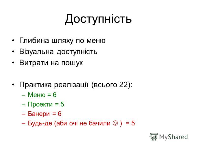 Доступність Глибина шляху по меню Візуальна доступність Витрати на пошук Практика реалізації (всього 22): –Меню = 6 –Проекти = 5 –Банери = 6 –Будь-де (аби очі не бачили ) = 5