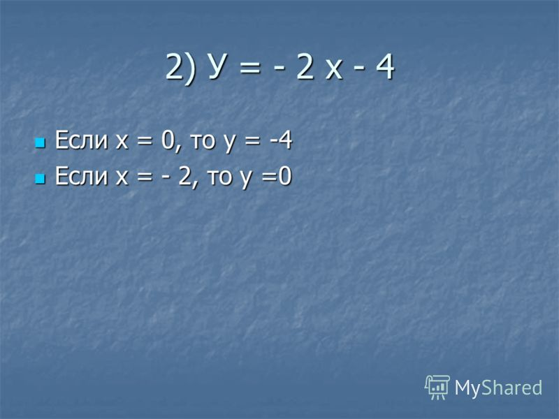 2) У = - 2 х - 4 Если х = 0, то у = -4 Если х = 0, то у = -4 Если х = - 2, то у =0 Если х = - 2, то у =0