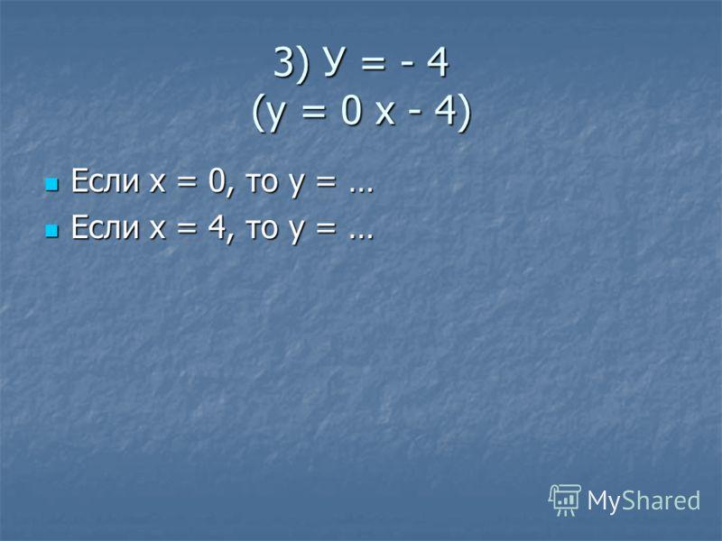 3) У = - 4 (у = 0 х - 4) Если х = 0, то у = … Если х = 0, то у = … Если х = 4, то у = … Если х = 4, то у = …