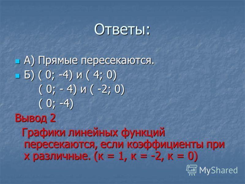 Ответы: А) Прямые пересекаются. А) Прямые пересекаются. Б) ( 0; -4) и ( 4; 0) Б) ( 0; -4) и ( 4; 0) ( 0; - 4) и ( -2; 0) ( 0; - 4) и ( -2; 0) ( 0; -4) ( 0; -4) Вывод 2 Графики линейных функций пересекаются, если коэффициенты при х различные. (к = 1,