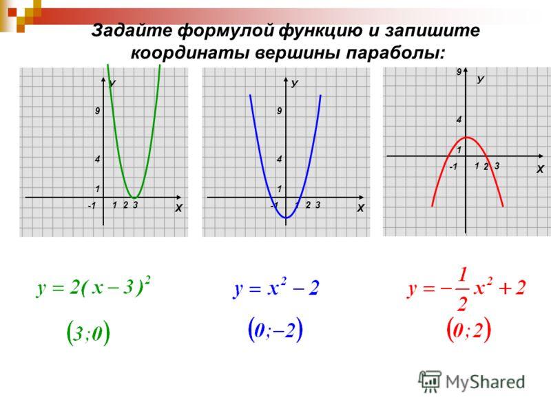 Х У 1 1 4 9 23 Х У 1 1 4 9 23 2 Х 1 1 4 9 3 У Задайте формулой функцию и запишите координаты вершины параболы: