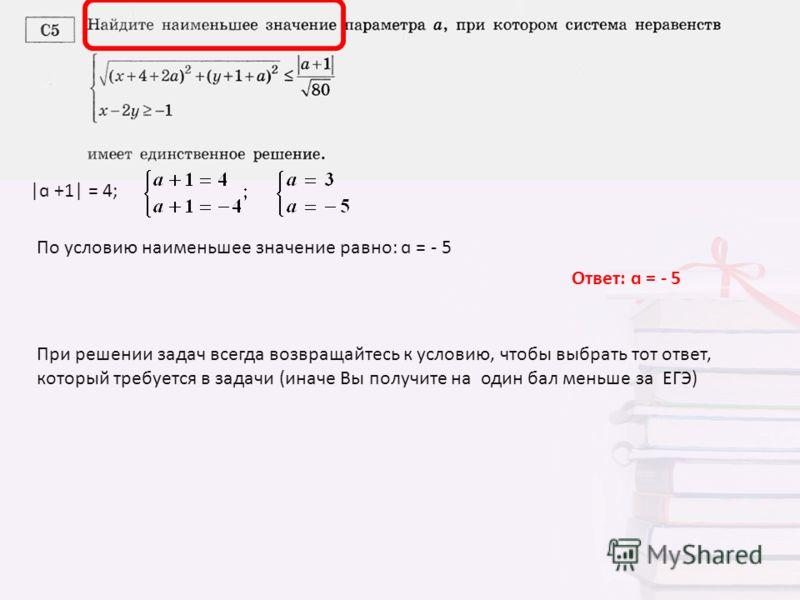 |ɑ +1| = 4; По условию наименьшее значение равно: ɑ = - 5 Ответ: ɑ = - 5 При решении задач всегда возвращайтесь к условию, чтобы выбрать тот ответ, который требуется в задачи (иначе Вы получите на один бал меньше за ЕГЭ)