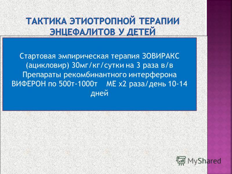 Стартовая эмпирическая терапия ЗОВИРАКС (ацикловир) 30мг/кг/сутки на 3 раза в/в Препараты рекомбинантного интерферона ВИФЕРОН по 500т-1000т МЕ x2 раза/день 10-14 дней