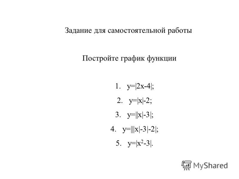 Задание для самостоятельной работы Постройте график функции 1.у=|2х-4|; 2.у=|х|-2; 3.у=||х|-3|; 4.у=|||х|-3|-2|; 5.у=|х 2 -3|.