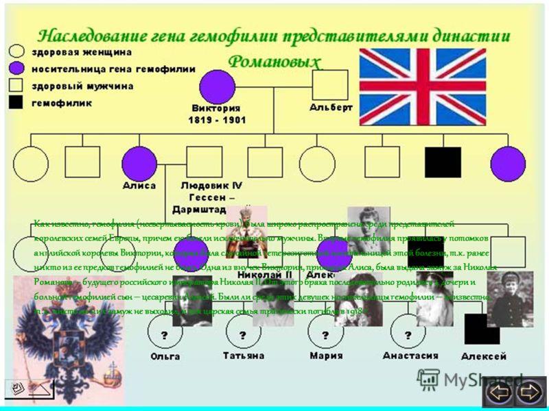 Как известно, гемофилия (несвертываемость крови), была широко распространена среди представителей королевских семей Европы, причем ею болели исключительно мужчины. Впервые гемофилия проявилась у потомков английской королевы Виктории, которая была слу