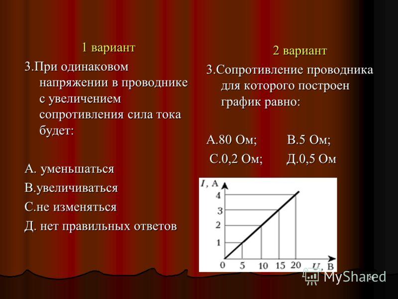 26 1 вариант 3.При одинаковом напряжении в проводнике с увеличением сопротивления сила тока будет: А. уменьшаться В.увеличиваться С.не изменяться Д. нет правильных ответов 2 вариант 3.Сопротивление проводника для которого построен график равно: А.80