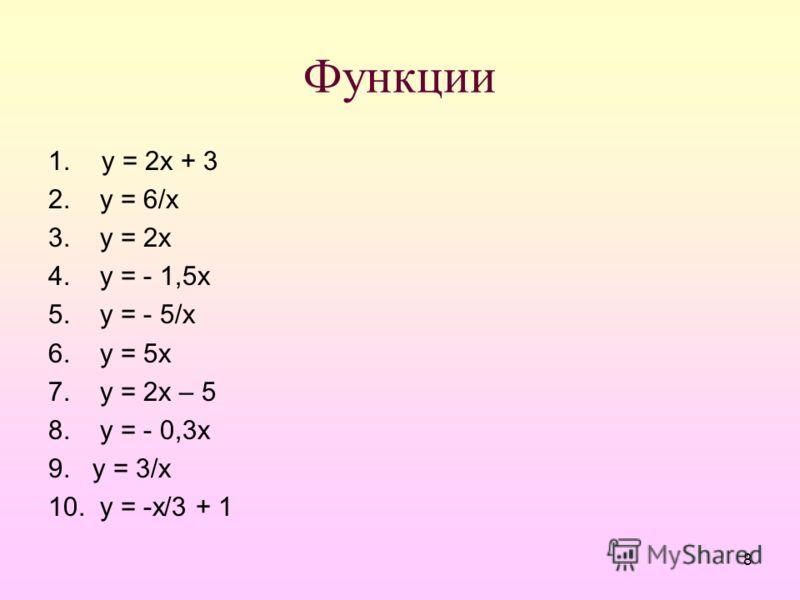 8 Функции 1.у = 2х + 3 2. у = 6/х 3. у = 2х 4. у = - 1,5х 5. у = - 5/х 6. у = 5х 7. у = 2х – 5 8. у = - 0,3х 9. у = 3/х 10. у = -х/3 + 1