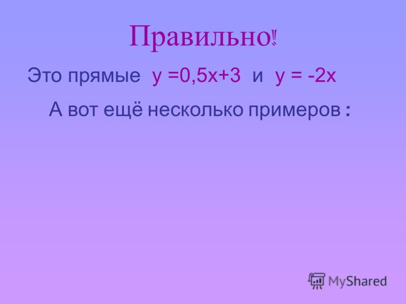 Правильно ! Это прямые у =0,5х+3 и у = -2х А вот ещё несколько примеров :