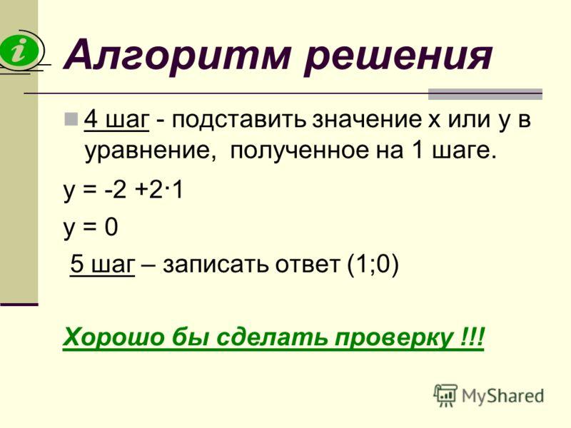 Алгоритм решения 4 шаг - подставить значение х или у в уравнение, полученное на 1 шаге. у = -2 +2 · 1 у = 0 5 шаг – записать ответ (1;0) Хорошо бы сделать проверку !!!