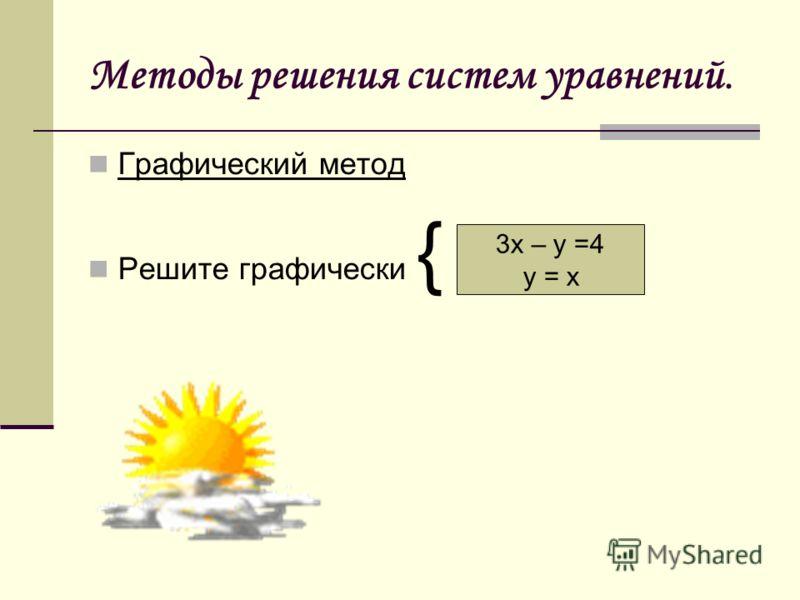 Методы решения систем уравнений. Графический метод Решите графически { 3х – у =4 у = х