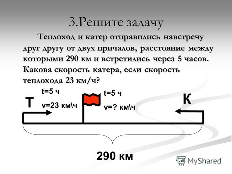3.Решите задачу Теплоход и катер отправились навстречу друг другу от двух причалов, расстояние между которыми 290 км и встретились через 5 часов. Какова скорость катера, если скорость теплохода 23 км/ч? Т К 290 км t=5 ч v=23 км\ч t=5 ч v=? км\ч