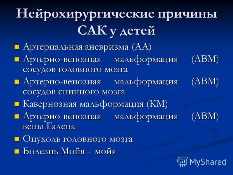 Нейрохирургические причины САК у детей Артериальная аневризма (АА) Артериальная аневризма (АА) Артерио-венозная мальформация (АВМ) сосудов головного мозга Артерио-венозная мальформация (АВМ) сосудов головного мозга Артерио-венозная мальформация (АВМ)