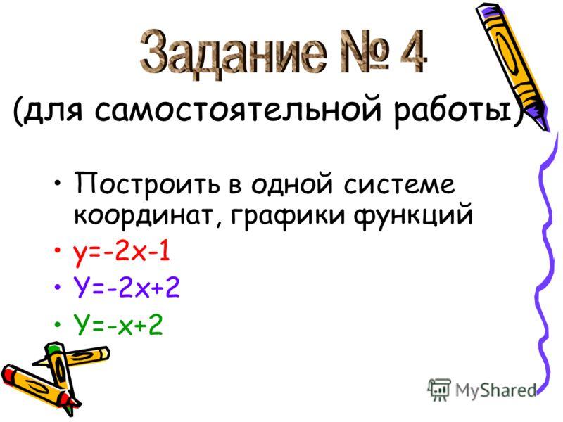 ( для самостоятельной работы) Построить в одной системе координат, графики функций y=-2x-1 Y=-2x+2 Y=-x+2