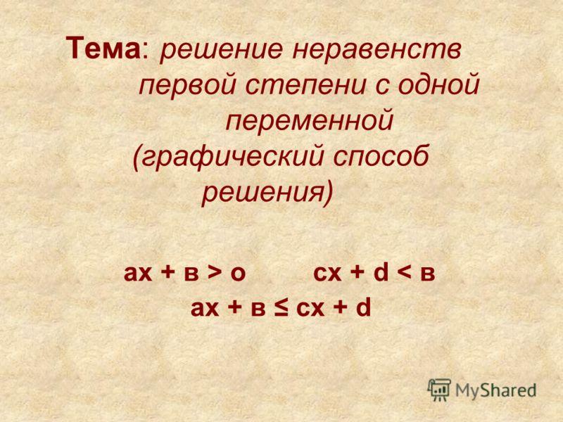 Тема: решение неравенств первой степени с одной переменной (графический способ решения) ах + в > o cх + d < в ах + в cх + d