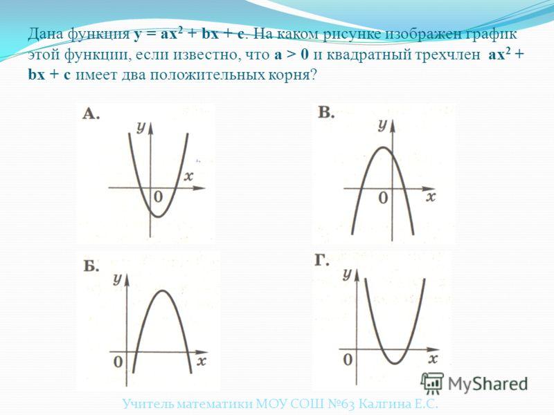 Повторение. Квадратичные функции. Молодцы! у = ах 2 + bx +c Учитель математики МОУ СОШ 63 Калгина Е.С.