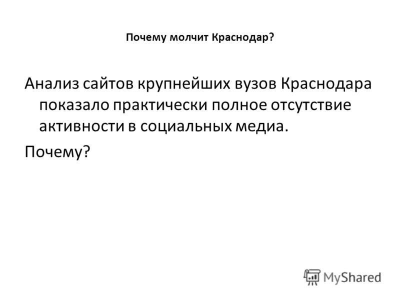 Почему молчит Краснодар? Анализ сайтов крупнейших вузов Краснодара показало практически полное отсутствие активности в социальных медиа. Почему?
