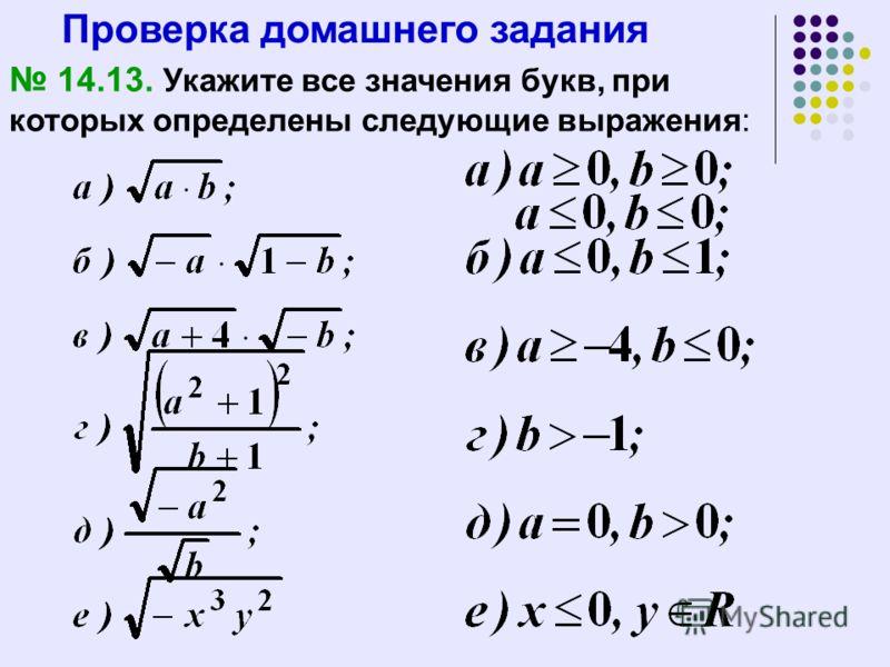 Проверка домашнего задания 14.13. Укажите все значения букв, при которых определены следующие выражения: