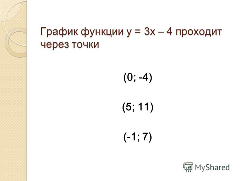 График функции у = 3х – 4 проходит через точки (0; -4) (5; 11) (-1; 7)