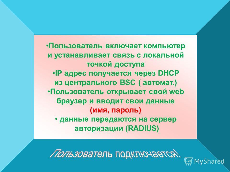 Пользователь включает компьютер и устанавливает связь с локальной точкой доступа IP адрес получается через DHCP из центрального BSC ( автомат.) Пользователь открывает свой web браузер и вводит свои данные (имя, пароль) данные передаются на сервер авт