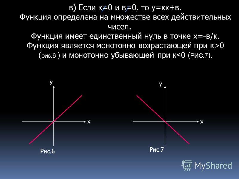 в) Если к=0 и в=0, то у=кх+в. Функция определена на множестве всех действительных чисел. Функция имеет единственный нуль в точке х=-в/к. Функция является монотонно возрастающей при к>0 ( рис.6 ) и монотонно убывающей при к