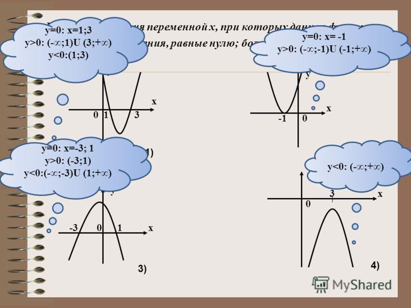 1)2) 3)4) 13 х у 0 0 х у -310 х у 03 х у а0 а < 0, D 0, D >0 а>0, D =0
