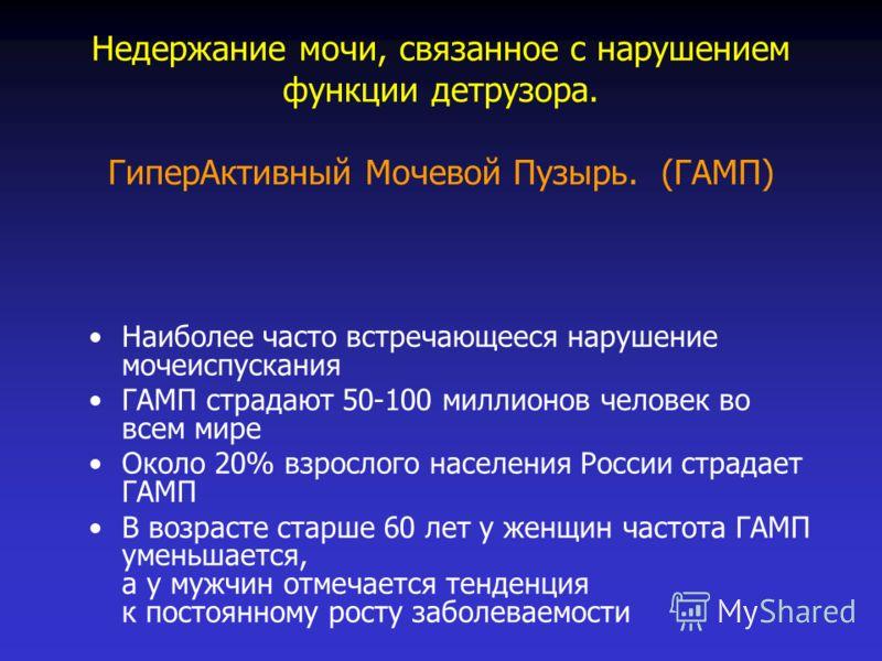 Недержание мочи, связанное с нарушением функции детрузора. ГиперАктивный Мочевой Пузырь. (ГАМП) Наиболее часто встречающееся нарушение мочеиспускания ГАМП страдают 50-100 миллионов человек во всем мире Около 20% взрослого населения России страдает ГА