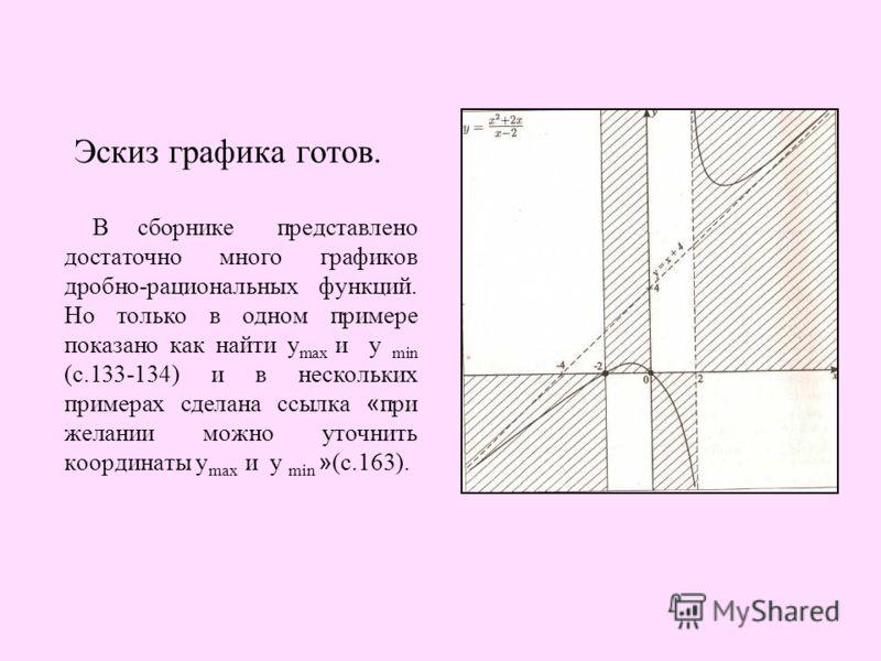 Эскиз графика готов. В сборнике представлено достаточно много графиков дробно-рациональных функций. Но только в одном примере показано как найти у max и y min (с.133-134) и в нескольких примерах сделана ссылка « при желании можно уточнить координаты