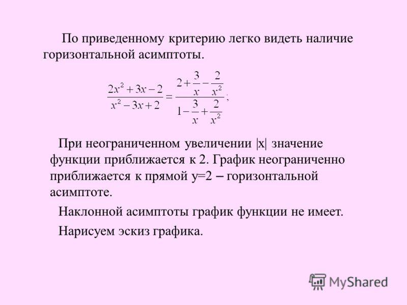 По приведенному критерию легко видеть наличие горизонтальной асимптоты. При неограниченном увеличении |x| значение функции приближается к 2. График неограниченно приближается к прямой у=2 – горизонтальной асимптоте. Наклонной асимптоты график функции