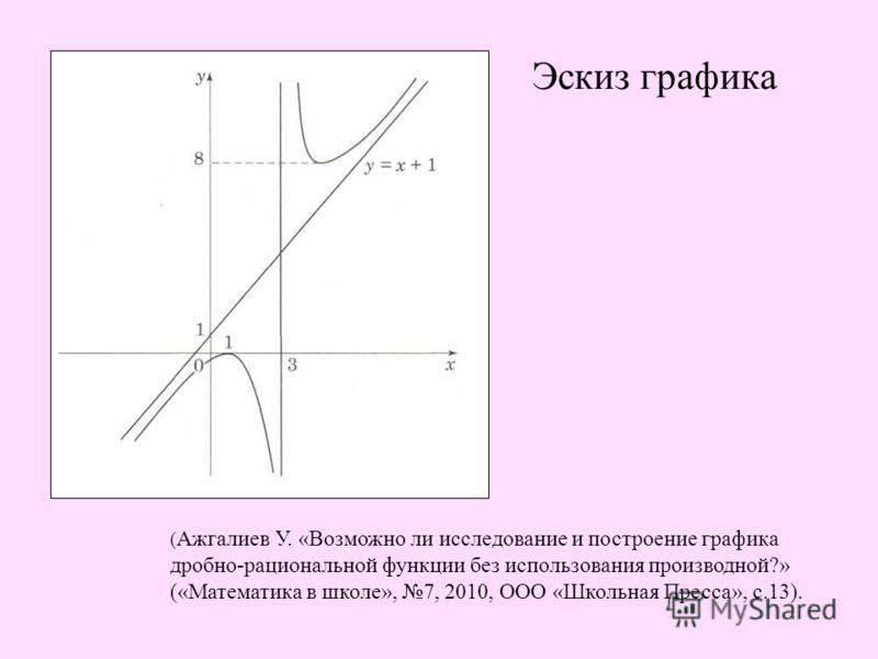 Эскиз графика ( Ажгалиев У. «Возможно ли исследование и построение графика дробно-рациональной функции без использования производной?» («Математика в школе», 7, 2010, ООО «Школьная Пресса», с.13).