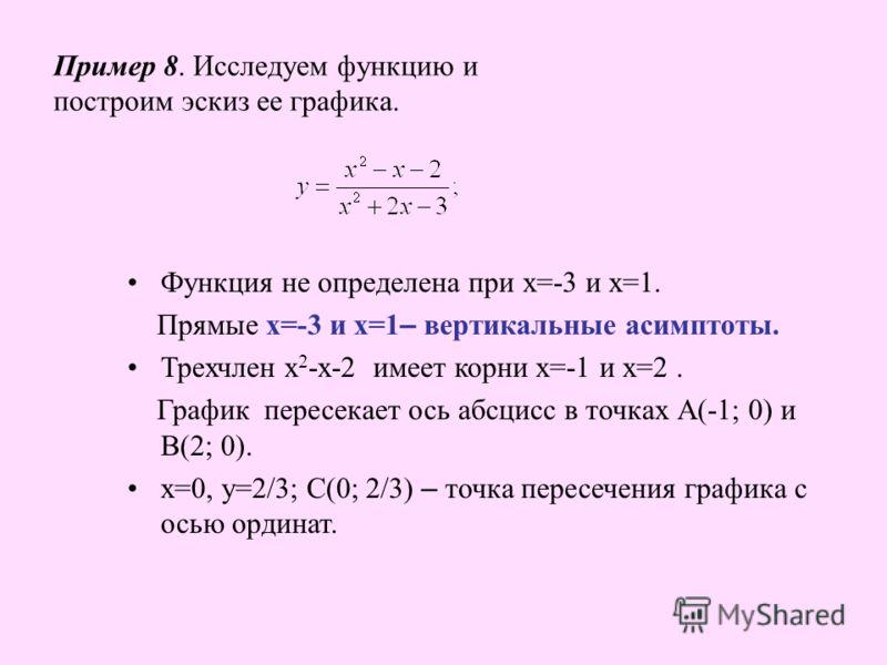 Пример 8. Исследуем функцию и построим эскиз ее графика. Функция не определена при х=-3 и х=1. Прямые х=-3 и х=1 – вертикальные асимптоты. Трехчлен х 2 -х-2 имеет корни х=-1 и х=2. График пересекает ось абсцисс в точках А(-1; 0) и В(2; 0). х=0, у=2/3
