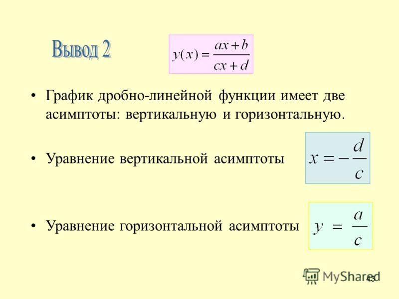 43 График дробно-линейной функции имеет две асимптоты: вертикальную и горизонтальную. Уравнение вертикальной асимптоты Уравнение горизонтальной асимптоты