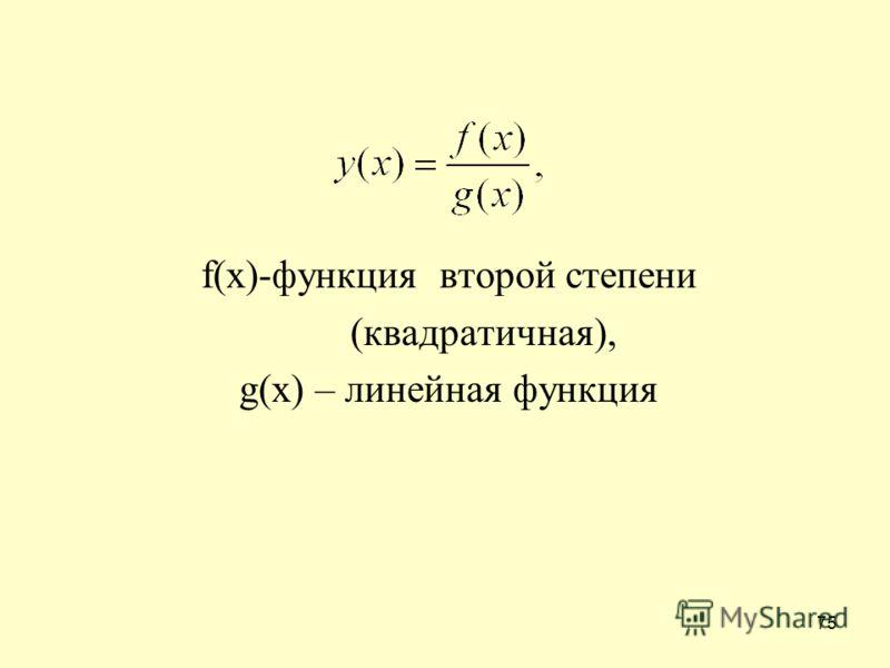 75 f(x)-функция второй степени (квадратичная), g(x) – линейная функция