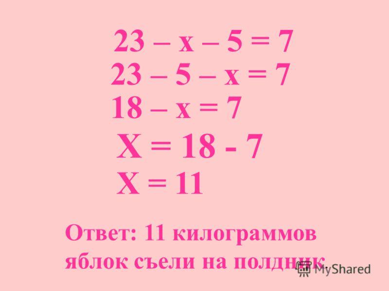 23 – х – 5 = 7 23 – 5 – х = 7 18 – х = 7 Х = 18 - 7 Х = 11 Ответ: 11 килограммов яблок съели на полдник.