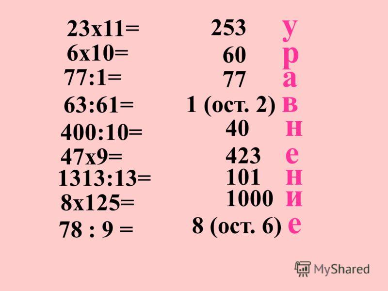 253 у 23х11= 6х10= 60 р 77:1= 77 а 63:61= 1 (ост. 2) в 400:10= 40 н 47х9= 423 е 1313:13= 101 н 8х125= 1000 и 78 : 9 = 8 (ост. 6) е