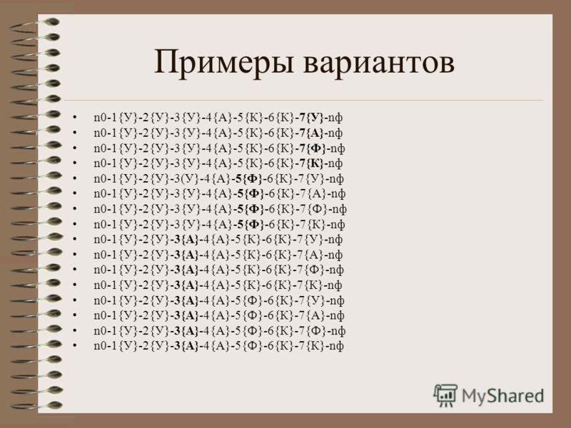Примеры вариантов n0-1{У}-2{У}-3{У}-4{А}-5{К}-6{К}-7{У}-nф n0-1{У}-2{У}-3{У}-4{А}-5{К}-6{К}-7{А}-nф n0-1{У}-2{У}-3{У}-4{А}-5{К}-6{К}-7{Ф}-nф n0-1{У}-2{У}-3{У}-4{А}-5{К}-6{К}-7{К}-nф n0-1{У}-2{У}-3(У}-4{А}-5{Ф}-6{К}-7{У}-nф n0-1{У}-2{У}-3{У}-4{А}-5{Ф}