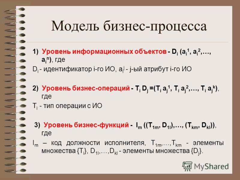 Модель бизнес-процесса 1) Уровень информационных объектов - D i (a i 1, a i 2,…, a i n ), где D i - идентификатор i-го ИО, a i j - j-ый атрибут i-го ИО 2) Уровень бизнес-операций - T i D j =(T i a j 1, T i a j 2,…, T i a j k ), где T i - тип операции