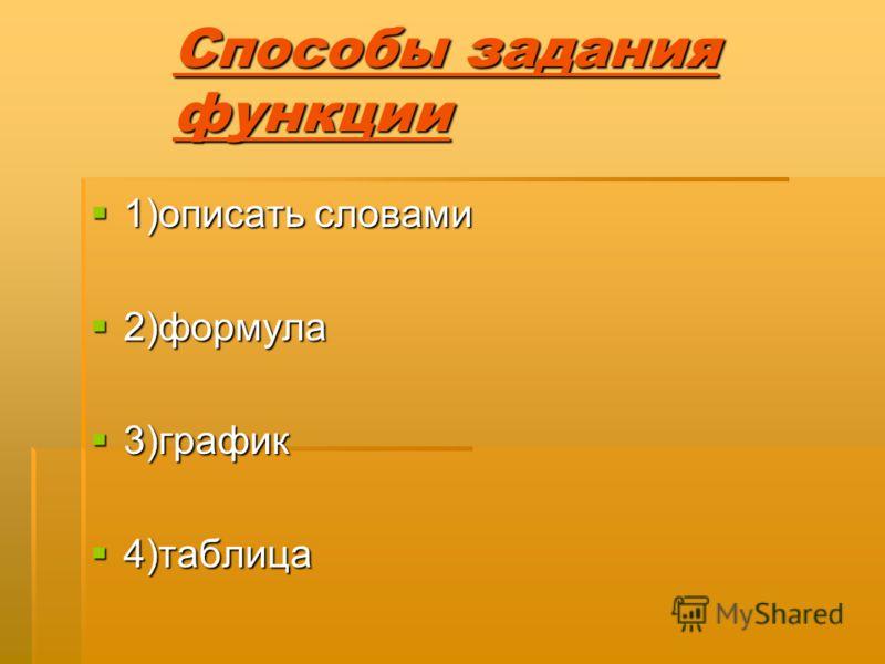 Способы задания функции 1)описать словами 1)описать словами 2)формула 2)формула 3)график 3)график 4)таблица 4)таблица