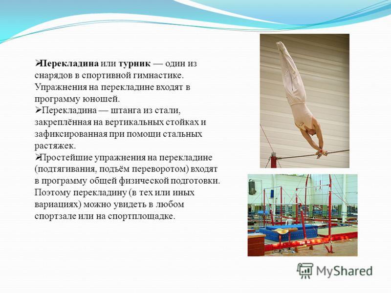 Перекладина или турник один из снарядов в спортивной гимнастике. Упражнения на перекладине входят в программу юношей. Перекладина штанга из стали, закреплённая на вертикальных стойках и зафиксированная при помощи стальных растяжек. Простейшие упражне