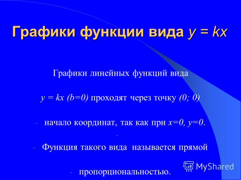 Графики функции вида у = kх Графики линейных функций вида у = kх (b=0) проходят через точку (0; 0) - начало координат, так как при х=0, у=0. - - Функция такого вида называется прямой - пропорциональностью.
