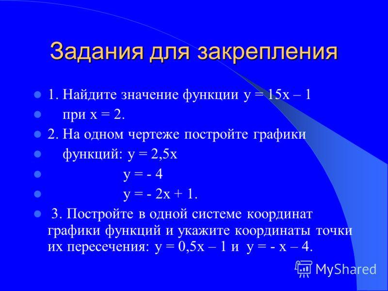 1. Найдите значение функции у = 15х – 1 при х = 2. 2. На одном чертеже постройте графики функций: у = 2,5х у = - 4 у = - 2х + 1. 3. Постройте в одной системе координат графики функций и укажите координаты точки их пересечения: у = 0,5x – 1 и y = - x