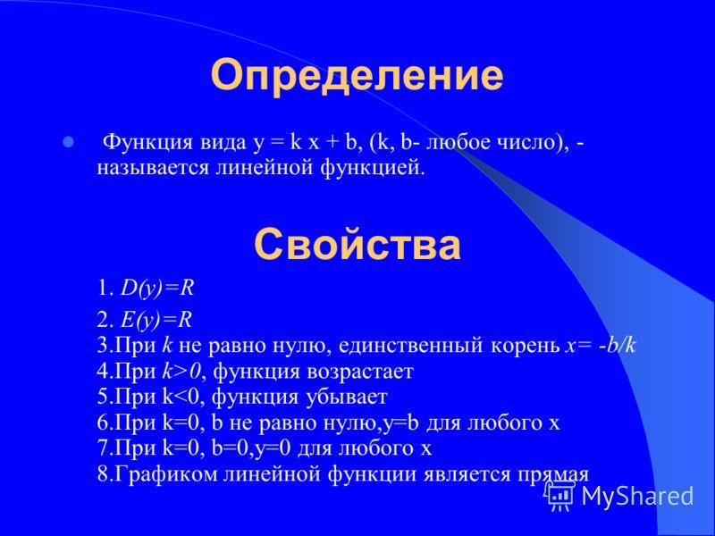 линейная функция и её график: