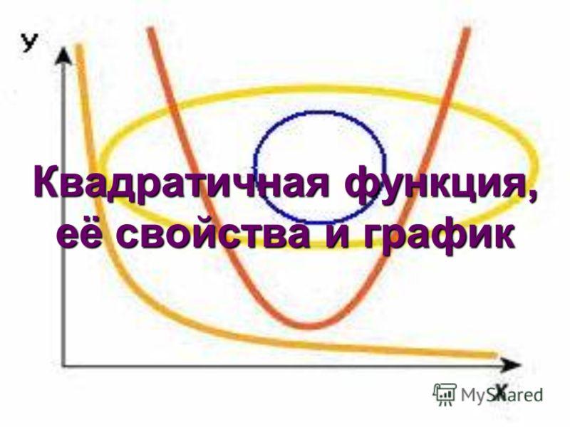 Квадратичная функция, её свойства и график